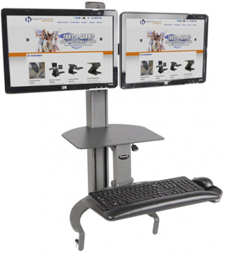 Health Postures TaskMate Go with Dual Monitor Arm 6350