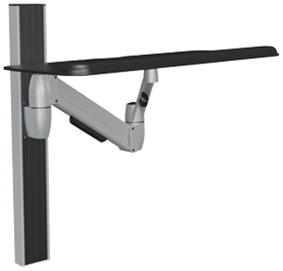 SpaceCo SS0127 Sit-Stand Arm Wall Channel Mount with 27 Inch Platform