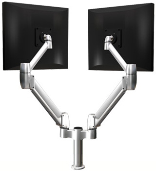 SpaceCo SS02X4 SpaceArm Sit - Stand Double Monitor Arm 4 Inch Extension