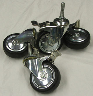 Set of four locking casters for Cabinet Stands