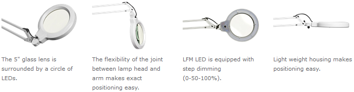 Luxo LFM LED Lighter-Duty Round Lens Magnifier Features
