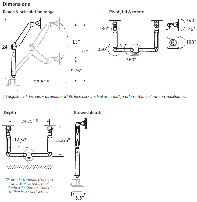 Workrite Conform Dual Articulating Arm Specs